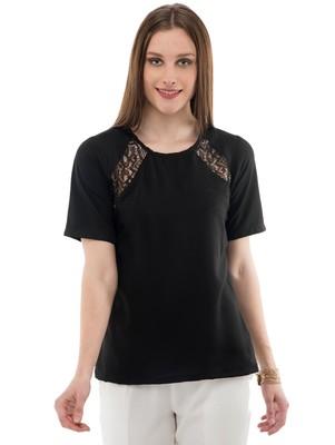 Women's Crepe Net Black Casual Top