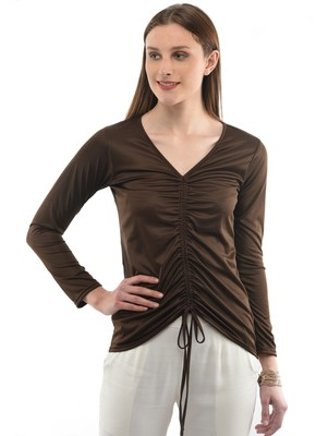 Women's Viscose Brown Casual Top