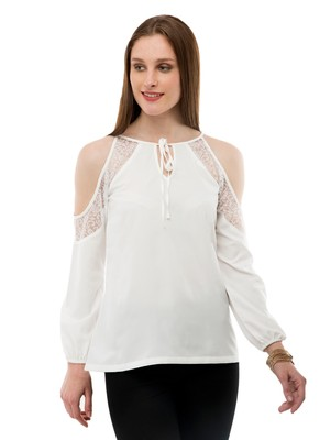 Women's Crepe Net Off-White Casual Top