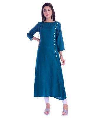Blue Color Rayon Fabric A-Line Kurti
