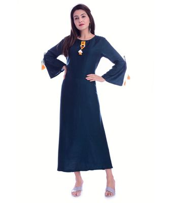 Blue Color Rayon Fabric A-Line Kurti