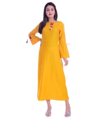 Yellow Color Rayon Fabric A-Line Kurti