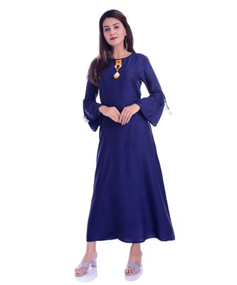 Navy Blue Color Rayon Fabric A-Line Kurti