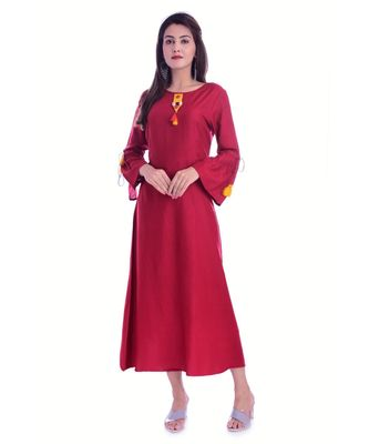 Maroon Color Rayon Fabric A-Line Kurti