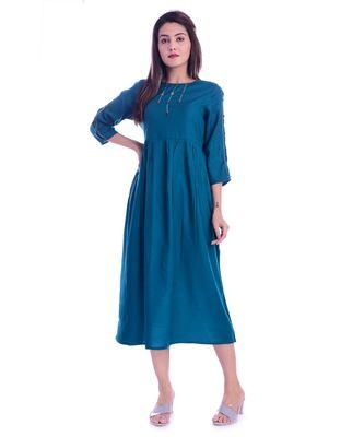 Blue Color Rayon Fabric Anarkali style Kurti