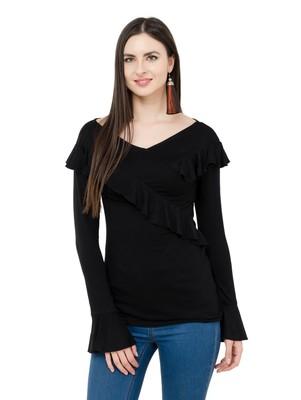 Black plain Viscose tops