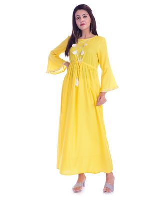 Yellow Color Rayon Fabric Anarkali Style Kurti With Pom Poms