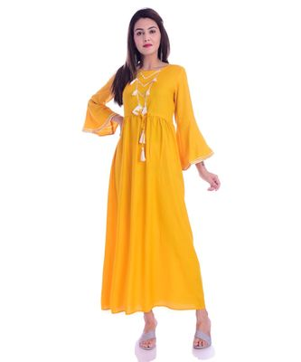 Mustard Color Rayon Fabric Anarkali Style Kurti With Pom Poms