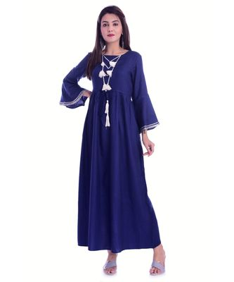 Navy Blue Color Rayon Fabric Anarkali Style Kurti With Pom Poms