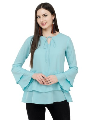 Light blue plain Crepe tops