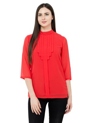 Red plain Georgette tops