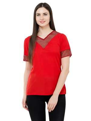 Red plain Crepe tops