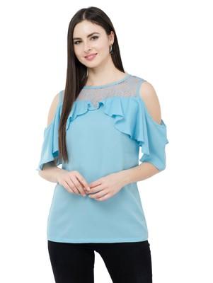 Light blue plain Crepe tops