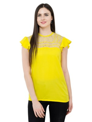 Yellow plain Crepe tops