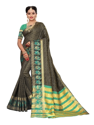 Olive woven poly silk saree with blouse