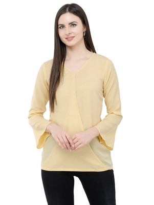 Beige plain Crepe tops
