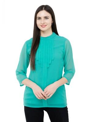 Green plain Georgette tops
