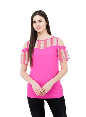 Pink plain Crepe tops
