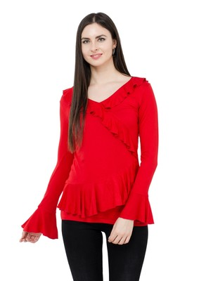Red plain Polyester tops