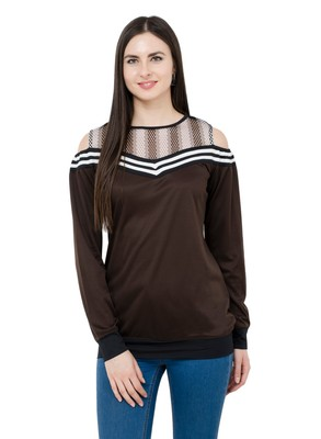 Brown plain Polyester tops