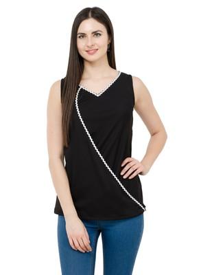 Black plain Crepe tops