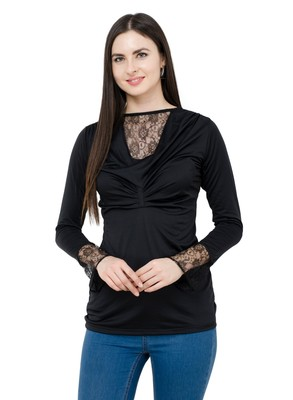 Black plain Polyester tops