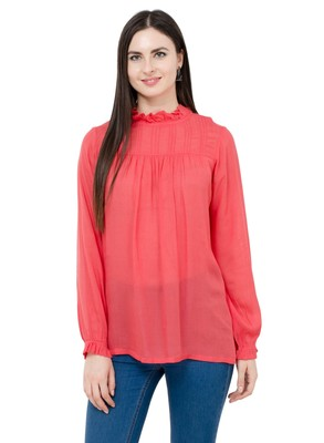 Red plain Rayon tops