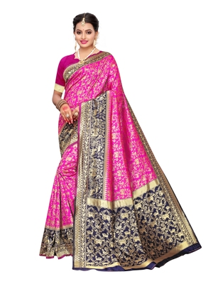 Pink woven poly silk saree with blouse