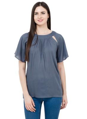 Grey plain Rayon tops