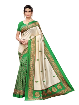 Off white printed poly silk saree with blouse