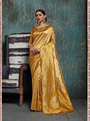 Gold woven kanchipuram silk saree with blouse