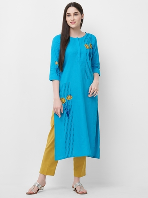 Turquoise embroidered cotton ethnic-kurtis