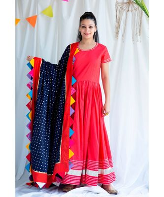 Moola cotton Long Dress and Dupatta sat of Two