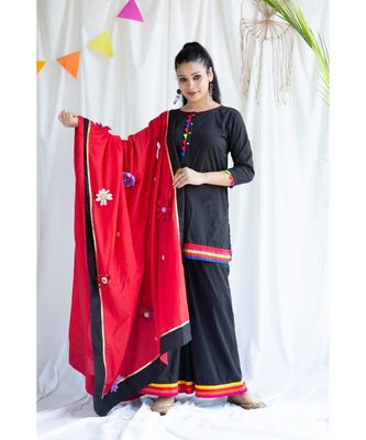 Sana cotton Kurta,Palazzo And Dupatta Set-Three