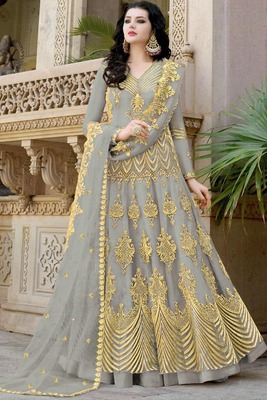 Grey resham embroidery net salwar
