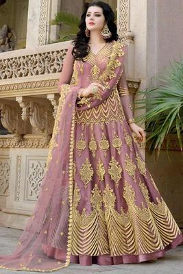 Pink resham embroidery net salwar