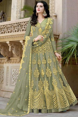 Light-green resham embroidery net salwar