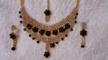 Traditional AD Zircon Stone Green and Red Fancy Stylish Party Wear Wedding necklace earring mangtika set