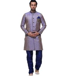 purple embroidered brocade sherwani