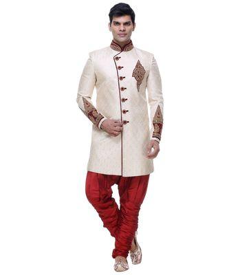 White Embroidered Brocade Sherwani