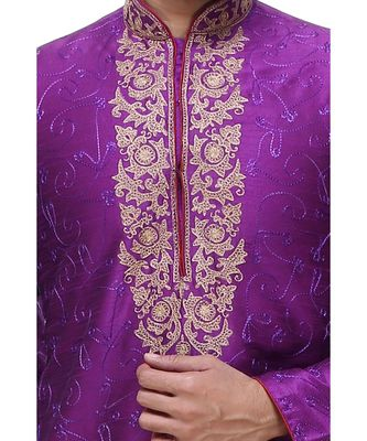 Purple Embroidered Silk Sherwani