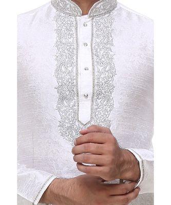 White Embroidered Silk Sherwani