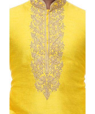Yellow Embroidered Silk Sherwani