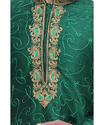 Green Embroidered Silk Sherwani
