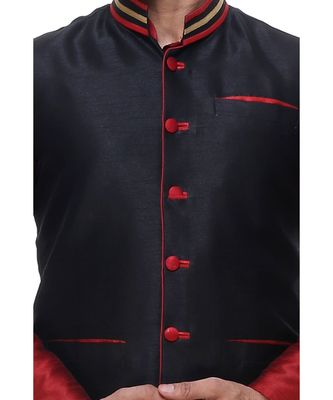 Maroon Embroidered Silk Sherwani