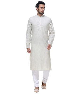 Grey Embroidered Cotton Sherwani