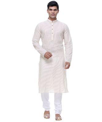 White Embroidered Cotton Sherwani