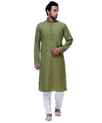 Green Embroidered Cotton Sherwani