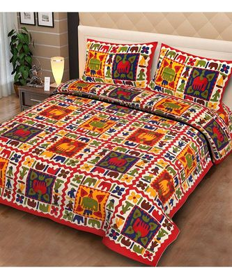 Jaipuri printed 100% Pure Cotton Queen Size Double Bedsheet with 2 pillow covers.