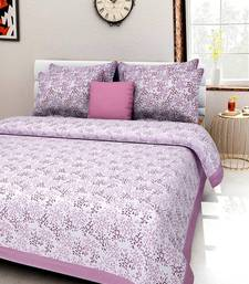 Dreamy Zone Purple Flower Print King Size Bedsheet with 2 Pillow Cover